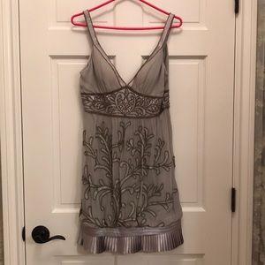 Sue Wong Platinum & Silver Beaded Cocktail Dress